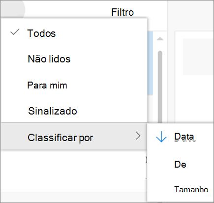 Uma captura de tela mostra a classificação por opção selecionada do controle de filtro para mensagens de email.