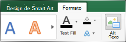 Botão Texto Alt para elementos gráficos SmartArt no Excel para Mac