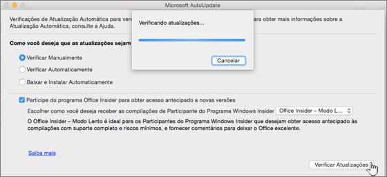 Verificar se há atualizações do Office Insider – Modo Lento no Mac