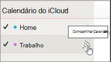 Ícone de calendário de compartilhamento em iCloud