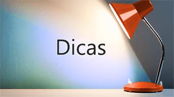"""Luz refletida na palavra """"Dicas"""""""