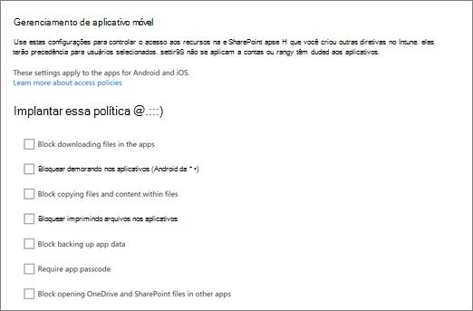 Gerenciar os aplicativos móveis OneDrive e do SharePoint no Centro de administração do OneDrive