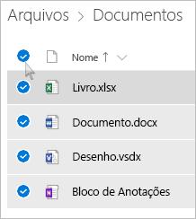 Captura de tela da seleção de todos os arquivos e pastas do OneDrive