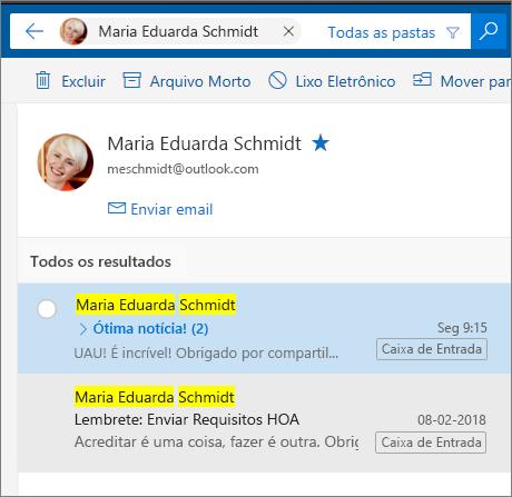 Pesquisar uma pessoa para ver todas as mensagens de email