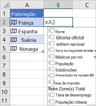 """A célula a2 contém """"França""""; A célula B2 contém = a2. o menu de preenchimento automático de fórmulas é exibido com campos do registro vinculado"""