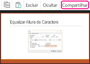 Comando Compartilhar no PowerPoint para Android