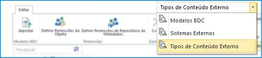 Captura de tela da seleção de exibições do catálogo de dados do BCS.