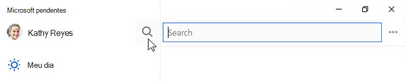 Captura de tela mostrando o ícone de pesquisa selecionado e o campo de pesquisa aberto