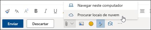 Captura de tela do menu Anexar com Locais na nuvem selecionados
