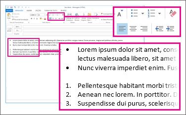 Exemplos de listas numeradas e com marcadores em uma mensagem