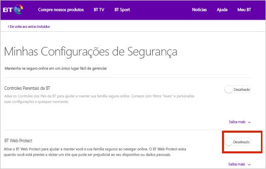 Página de configurações de segurança BT