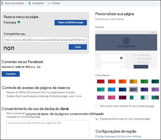 """Página de reserva com uma nova seção chamada """"personalizar sua página""""."""