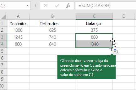 Exemplo de calcular um balanço