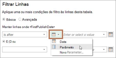 Inserindo um parâmetro na caixa de diálogo Filtro