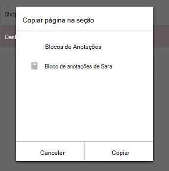 O menu Copiar página no OneNote para Android