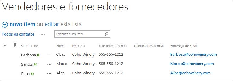 Uma captura de tela que mostra vários contatos adicionados à sua página