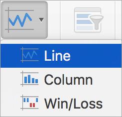 Opções no menu minigráficos