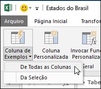 Power Query combinar colunas com a opção de exemplo na guia adicionar coluna