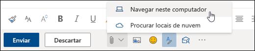 Captura de tela do menu Anexar com Computador selecionado