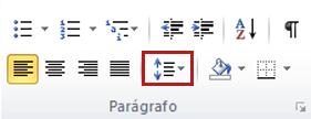 Espaçamento entre Linhas na guia Página Inicial