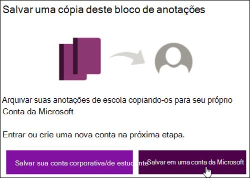 Salvar em uma conta da Microsoft