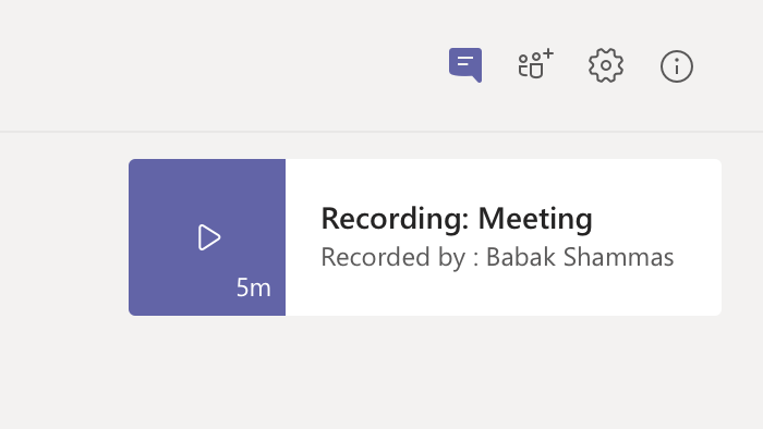 Registro de reunião no histórico de chats