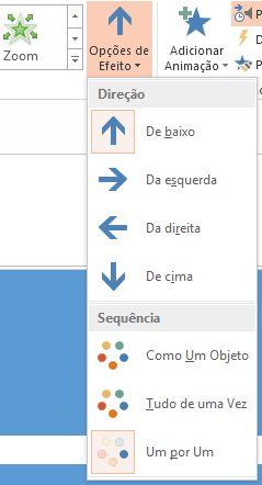 O botão Opções de Efeito no grupo Animações