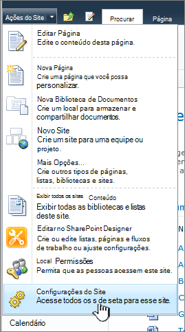Configurações do site no menu Ações do site
