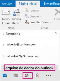 O Outlook adiciona o arquivo .pst com um nome genérico: arquivo de dados do outlook.
