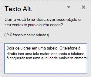 Painel texto ALT com um exemplo de texto alt no Word para Windows.