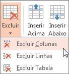 Excluir colunas ou linhas