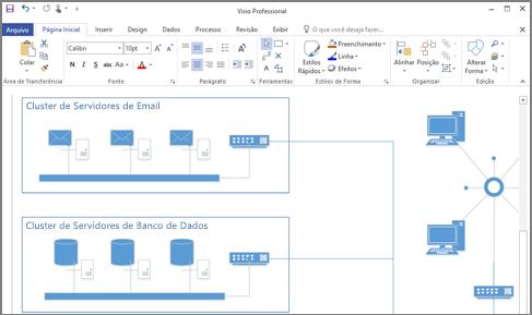 Captura de tela de um diagrama criado no Visio 2016.