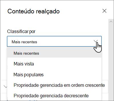As opções classificar por da Web Part de conteúdo realçado na experiência moderna do SharePoint