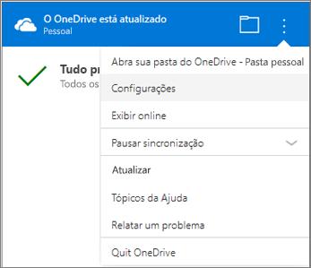 Mais configurações do Centro de Atividades de Sincronização do OneDrive