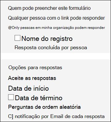 Configurações para formulários.