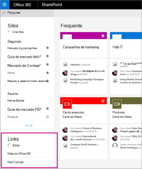 Página inicial mostrando a lista de Links com o botão Editar