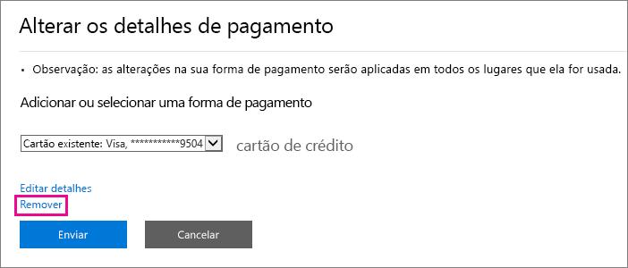 """Captura de tela do submenu """"Alterar detalhes de pagamento"""" com o link Remover em destaque"""