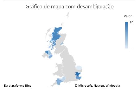 Gráfico de dados não ambíguos do gráfico de mapa do Excel