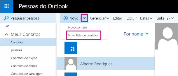 """Captura de tela da barra de ferramentas na página Pessoas do Outlook. A captura de tela mostra a opção """"Nova lista de contatos"""" no menu suspenso """"Novo""""."""