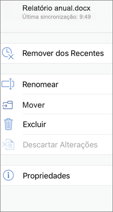 Tela móvel mostrando o comando Mover