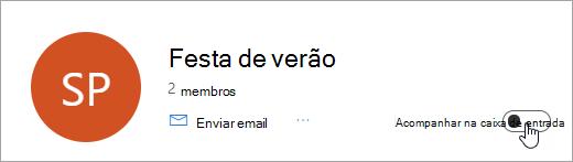Uma captura de tela da opção acompanhar na caixa de entrada definida como desativado
