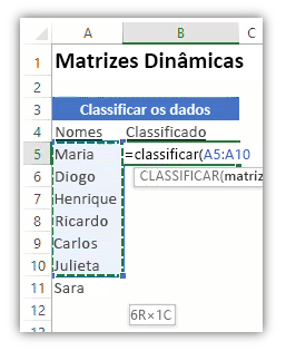 captura de tela de uma planilha do Excel mostrando uma lista de dados e uma fórmula usando a função CLASSIFICAR para classificar a lista.