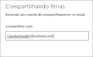 Inserir o endereço de email completo