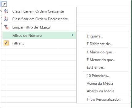 as opções de filtragem personalizada disponíveis para valores numéricos.