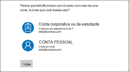 Tela de conexão com dois endereços de email