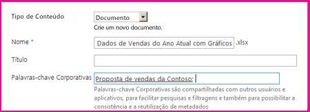 Os usuários podem adicionar palavras-chave na caixa de diálogo de propriedades do documento