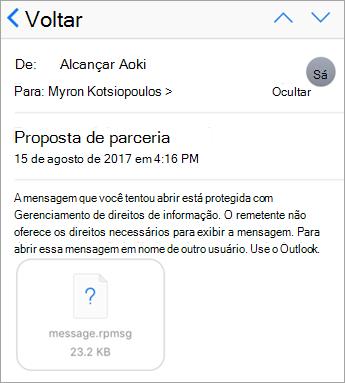 Você não pode ver mensagens protegidas no aplicativo de email do iOS se seu administrador não tem permissão.
