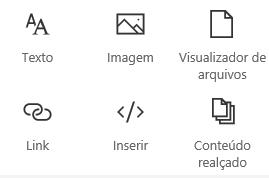 Captura de tela do menu de Web Part no SharePoint.