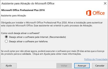 Mostra o Assistente de Ativação do Office que pode aparecer após a instalação do Office.