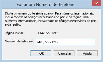 Exemplo de número de telefone do Lync que mostra um formato internacional de discagem